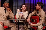 "PHOTO BY RON HEERKENS JR. PHOTOGRAPHY - Lorenzo Shawn Parnell, Kristin Mellema, - and Jimmy Boorum in ""Violet,"" on stage now at Blackfriars Theatre."