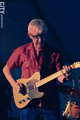 "PHOTO BY FRANK DE BLASE - Many music fans consider Bill Kirchen a guitar legend for his scorching solos, like the one in ""Hot Rod Lincoln."" He merely considers himself a ""journeyman."""