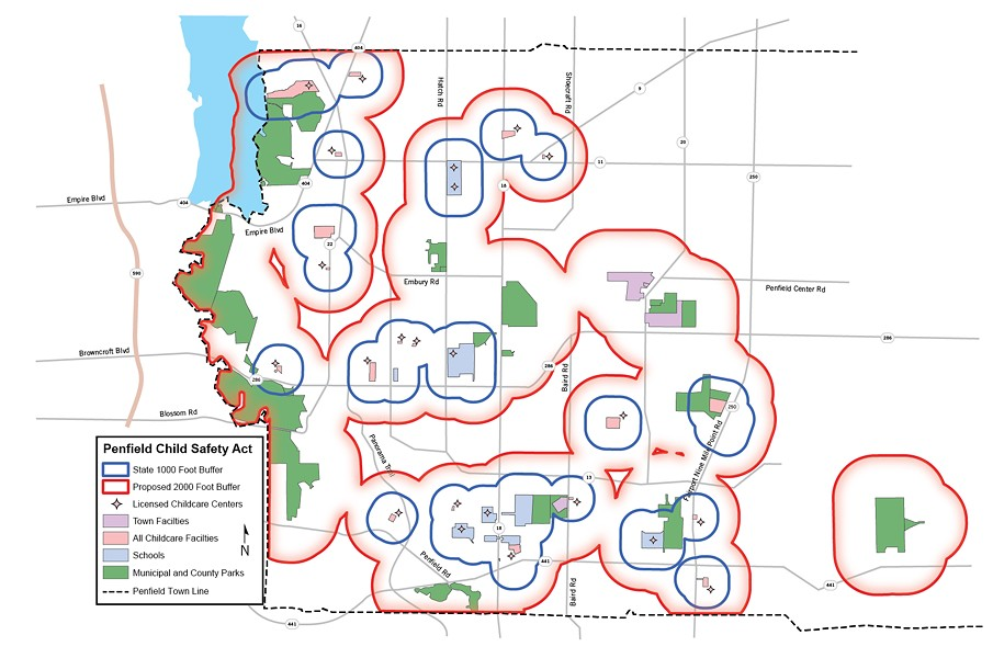 Map by Matt DeTurck, with elements and data courtesy the Town of Penfield
