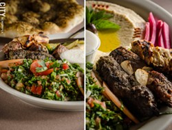 Mashawi Combo (tabouli, hummus, chicken, beef, kafta kebab skewers, and pickled vegetables). - PHOTO BY MARK CHAMBERLIN