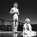 "Matthew Floyd Miller as Theophilus and Siobhn Mahoney as his young friend in Geva Theatre Center's production of ""Theophilus North."""