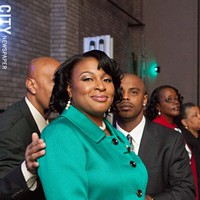 Mayor Lovely Warren's Inauguration Ceremony Mayor Warren and her husband Timothy Granison back stage before the ceremonies begin. PHOTO BY JOHN SCHLIA