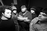 PHOTO BY FRANK DE BLASE - Metal band Kaged --- J.P. Altieri, Todd Gursslin, James D, MugsyMattern, and Sam Cordaro (left to right) --- plays New Year's Eve at California Brew Haus.