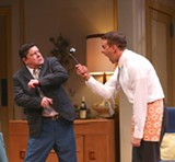 "PHOTO BY KEN HUTH - Michael McGrath as Oscar, and Noah Racy as Felix in ""The Odd Couple,"" now playing at Geva Theatre."