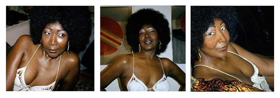 Mickalene Thomas (American, b. 1971). Lounging, Standing, Looking, 2012. Three chromogenic development prints. Courtesy of the artist, Lehmann Maupin, New York & Hong Kong, and Artists Rights Society (ARS), New York. © Mickalene Thomas - PHOTO PROVIDED