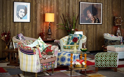 """Mickalene Thomas, Detail of installed living room for viewing the film """"Happy Birthday to a Beautiful Woman."""" - PHOTO COURTESY GEORGE EASTMAN HOUSE"""