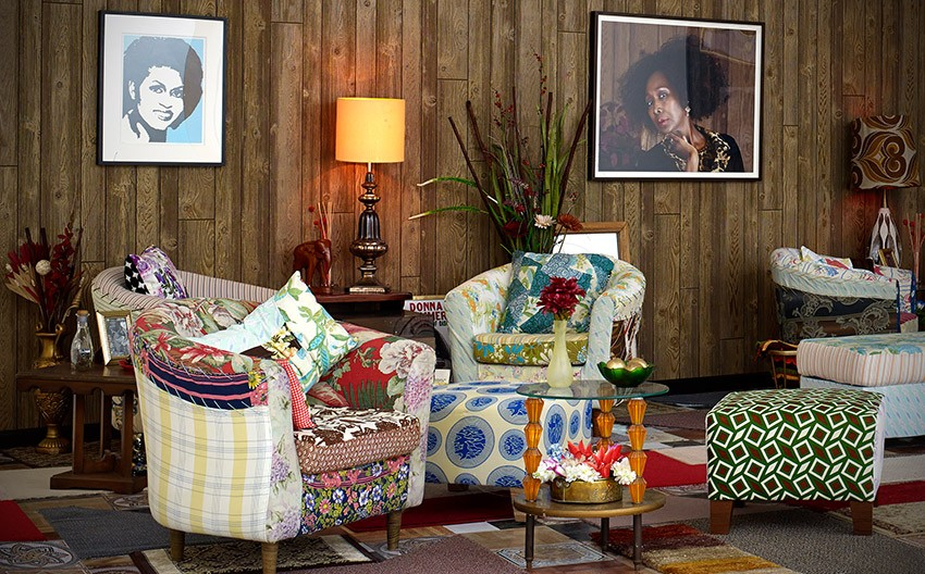 "Mickalene Thomas, Detail of installed living room for viewing the film ""Happy Birthday to a Beautiful Woman."" - PHOTO COURTESY GEORGE EASTMAN HOUSE"