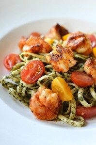 Mint-basil pesto linguini with shrimp at Benedettos. PHOTO BY MATT DETURCK