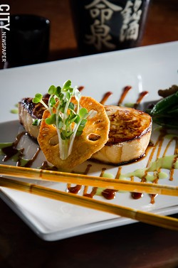 Miso-marinated butterfish with sweet soy and wasabi drizzles from Papaya. - PHOTO BY MARK CHAMBERLIN
