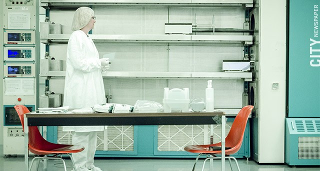 Natcore technician Wendy Ahearn in a clean room in the company's facility at Eastman Business Park.