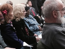 Sister Grace Miller (blonde hair, glasses) of the House of Mercy at this morning's meeting of the Civic Center garage LDC. - PHOTO BY CHRISTINE CARRIE FIEN