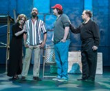 """PHOTO BY STEVEN LEVINSON - """"Our Suburb,"""" an adaptation of Thornton Wilder's 1938 classic, """"Our Town,"""" features (left to right) Jillian Severin as Mrs. Major, Darlando Eanon as L.C., Justin Borak as Ricky, and Jeff Siuda as Mr. Edelman."""""""