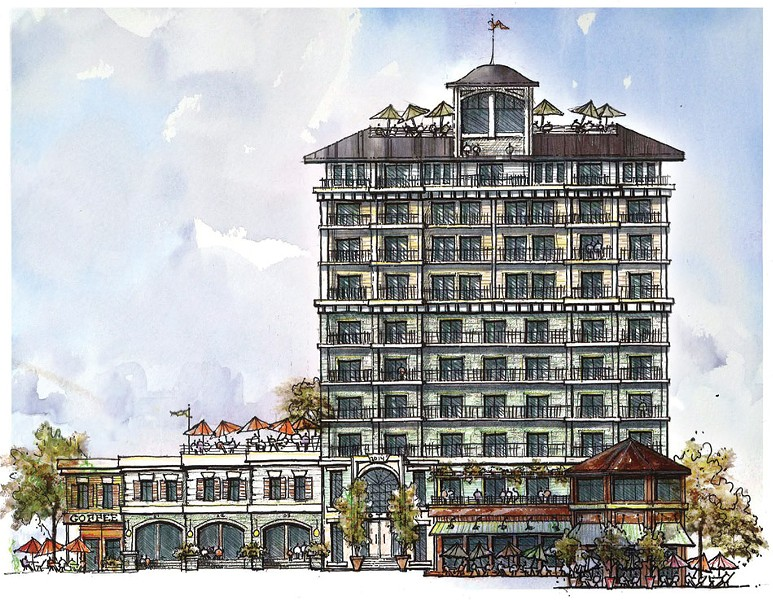 Phase one of the port project, a 10-story hotel. - PROVIDED ART