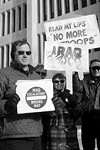 Protestors gathered at the Federal Building January 11 to protest the Bush troops plan.