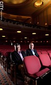 RBTL board chair Arnie Rothschild (left) and promoter Albert Noccolino inside the Auditorium Theatre.
