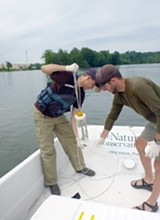 PROVIDED PHOTO - Researchers with the Nature Conservancy collected samples of Erie Canal water to test for invasive species DNA. This photo is from last year's collection efforts.