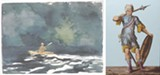 "PHOTOS PROVIDED - Right to left: Winslow Homer's ""Paddling at Dusk"" and an Austrian glass panel work by an unknown artist are part of the current exhibit at Memorial Art Gallery that showcases rarely-shown works from the gallery's collection."