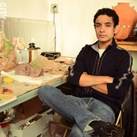 Framing First Friday RIT graduate Muhammad I Aslam is a figure scupltor who shares a studio space with Kuma Gama in the Hungerford Building. Photo by Larissa Coe