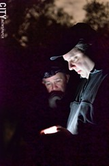 PHOTO BY MATT DETURCK - Rob Pistilli and Rich Eider, two members of Monroe County Paranormal Investigatons, during a recent investigation at Ellison Park.