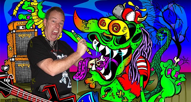 "Rock 'n' Roll Social Club member Doug Mac ""inside"" one of his cartoon creations."