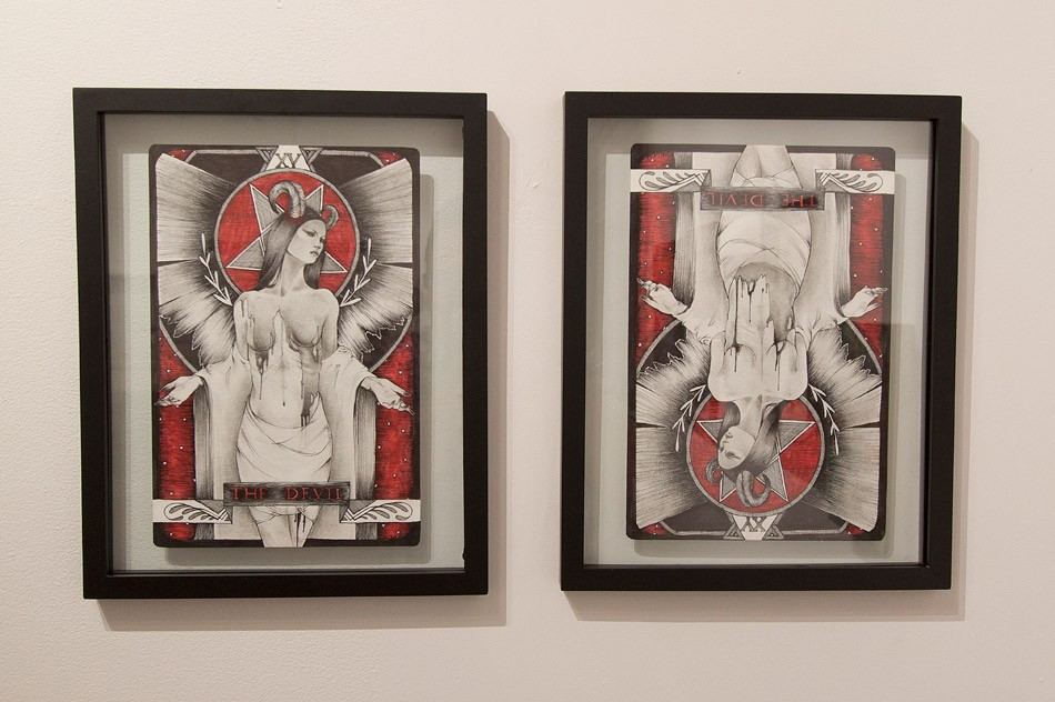 """Shawnee Hill's devil-themed diptych for 1975 Gallery's """"Devil's in the Details"""" anniversary group show. - PHOTO PROVIDED"""