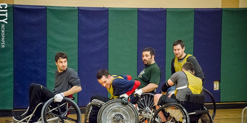 Quad Rugby Since August 2013, the Wreckers have gained over a dozen members, including Mike Bliss, Chris Hilderbrant, Jerremy Lorch, Dave King, and Craig Mills (back to camera) PHOTO BY MARK CHAMBERLIN