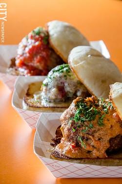 "Skylark Lounge meatball ""sliders"" on ciabatta rolls. - PHOTO BY MARK CHAMBERLIN"