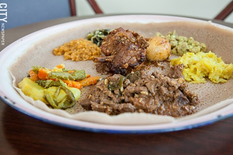 Special #1 from Abyssinia with meat and vegetarian dishes. - PHOTO BY JOHN SCHLIA