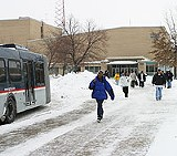 KURT BROWNELL - Students at East High School head home. The Rochester school district is considering adding junior-high classes to most of its senior highs.