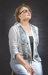 "Susan Hopkins performs in ""Shirley Valentine"" at Blackfriars Theare. - PHOTO BY MARK CHAMBERLIN"