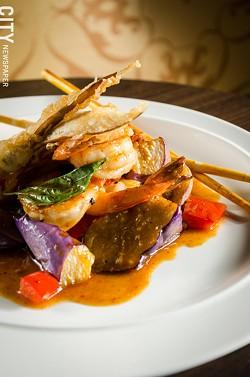 Takrai shrimp with Japanese eggplant, and spicy lemon grass sauce from Papaya. - PHOTO BY MARK CHAMBERLIN