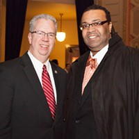 Mayor Lovely Warren's Inauguration Ceremony Ted O'Brien and Adam McFadden PHOTO BY JOHN SCHLIA