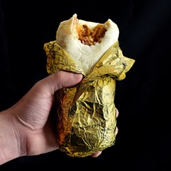 The coveted Lubies trophy, the Golden Everything Burrito. - PHOTO BY MATT DETURCK