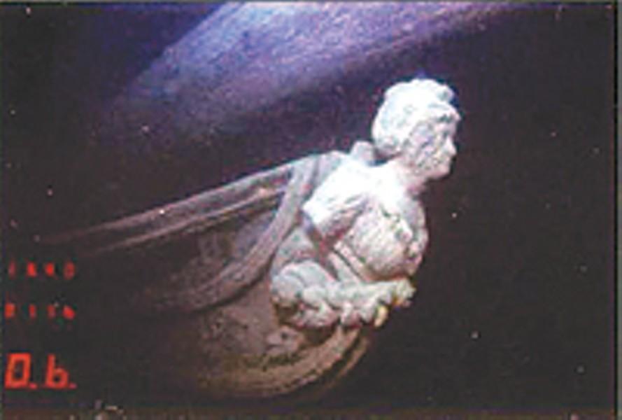 The Hamilton's figurehead, Diana, resting in the depths of Lake Ontario.