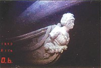 The Hamilton's figurehead, Diana, resting in the depths of Lake Ontario.