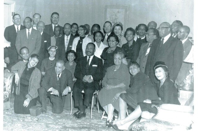 The Rev. Dr. Martin Luther King Jr. meets with leaders of Rochester's black community in this undated photo. - PROVIDED PHOTO