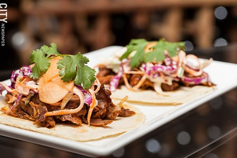 The Revelry features a seasonally changing food menu – with Duck Tacos on the spring menu. - PHOTO BY JOHN SCHLIA