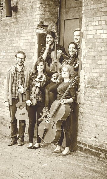 The six core musicians of Sound ExChange are (clockwise from left) Matthew Cox, Alexander Pena, Kurt Fedde, Lili Sarayrah, Nadine Sherman, and Molly Germer. Emily Wozniak is the group's seventh core member. - PHOTO BY MARK CHAMBERLIN