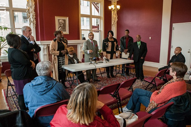 The United Christian Leadership Ministry and Coalition for Police Reform held a press conference Tuesday on the grand jury decision involving the police shooting of Michael Brown in Ferguson, Missouri. The press conference took place at the Downtown United Presbyterian Church. - PHOTO BY JOHN SCHLIA