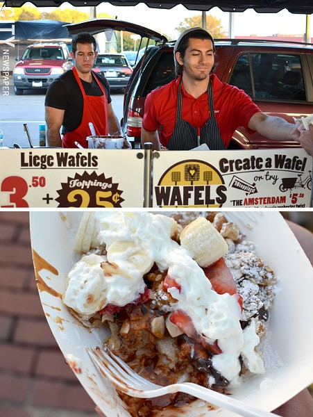 The Wafel Truck served up hot wafels at the October Food Truck Rodeo. (bottom) An Amsterdam wafel with all the trimmings. - PHOTO BY MATT DETURCK
