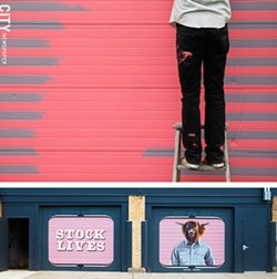 Thievin' Stephen works on his 2012 mural on Pennsylvania Avenue at the Rochester Public Market. (bottom) The completed mural. - FILE PHOTO