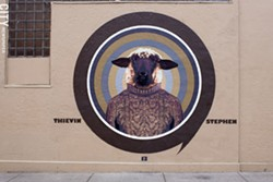 Thievin' Stephen's 2013 entry into the Wall/Therapy mural project can be found on the side of the Tap & Mallet on Gregory Street. - FILE PHOTO