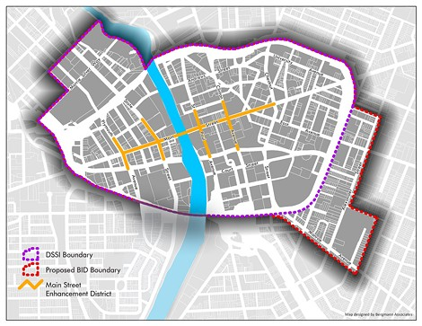 This map shows the proposed business district (in red), along with the current areas covered by the Main Street Enhancement District (in yellow) and Downtown Special Services (in purple). - PROVIDED IMAGE