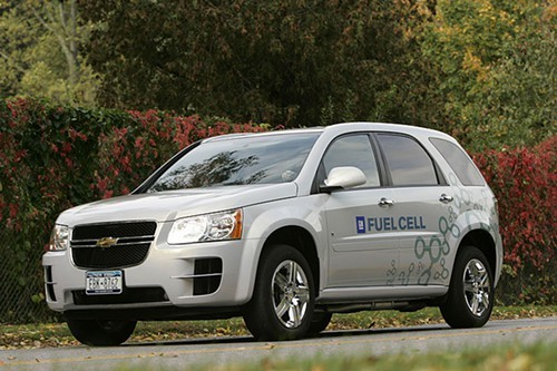 This photo from 2007 pictures the Chevrolet Equinox fuel cell vehicle.