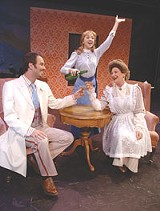 "GLENN GASTON/MGR PLAYHOUSE - Toast of the town: Daryl Getman, - Kathleen Huber, and Douglas Ladnier (clockwise, from - top) in Merry-Go-Round's ""Gigi."""