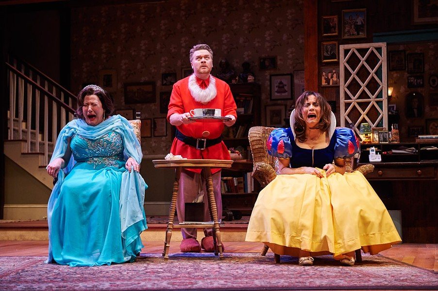 "Toni DiBuono, Margaret Reed, and John Scherer in ""Vanya and Sonia and Masha and Spike,"" on stage now at Geva Theatre Center. - PHOTO BY ROGER MASTROIANNI"