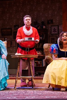 "Toni DiBuono, Margaret Reed, and John Scherer in ""Vanya and Sonia and Masha and Spike,"" on stage now at Geva Theatre Center."