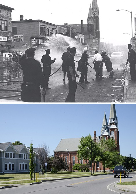 (top) Firefighters try to contain a fire at the Allan Grocery at Joseph Avenue and Catherine Street. - Photo courtesy the City of Rochester, Rochester, New York - (above) The same stretch of road, as it appears today. PHOTO BY MARK CHAMBERLIN
