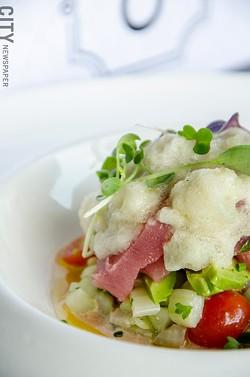 Tuna crudo with tomatoes, cucumber, fennel, and horseradish from Avvino. - PHOTO BY MARK CHAMBERLIN