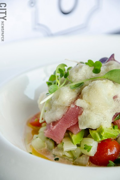 Tuna crudo with tomatoes, cucumber, fennel, and horseradish from Avvino. - PHOTO BY MARK CHAMBERLIN
